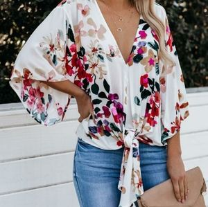Floral Front Tie Blouse NWT